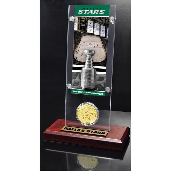 NHL Dallas Stars Dallas Stars Stanley Cup Champions Ticket and Bronze Coin Acrylic Display