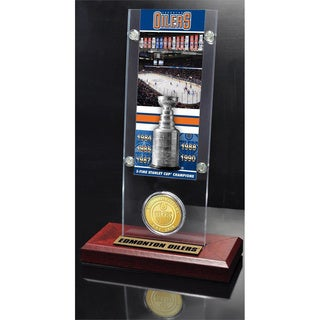 NHL Edmonton Oilers Edmonton Oilers 5x Stanley Cup Champions Ticket and Bronze Coin Acrylic Display