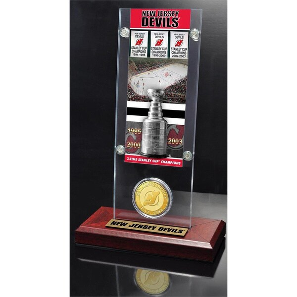 NHL New Jersey Devils New Jersey Devils 3x Stanley Cup Champions Ticket and Bronze Coin Acrylic Display