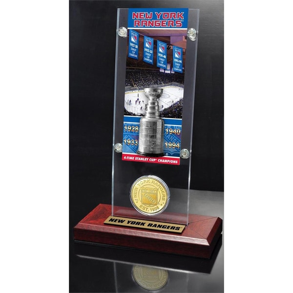 NHL New York Rangers New York Rangers 4x Stanley Cup Champions Ticket and Bronze Coin Acrylic Display