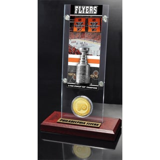 NHL Philadelphia Flyers Philadelphia Flyers 2x Stanley Cup Champions Ticket and Bronze Coin Acrylic Display