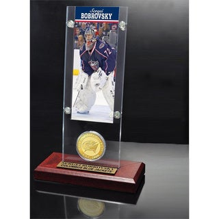 NHL Columbus Blue Jackets Sergei Bobrobsky Ticket and Bronze Coin Desktop Acrylic Display