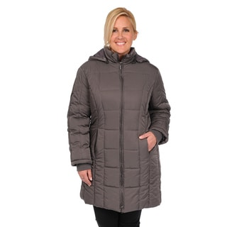 EXcelled Plus Poly Quilted Knee Length Detachable Hood Coat