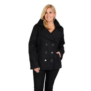 EXcelled Plus Wool Fashion Peacoat with Silver Accented Zipper Pockets|https://ak1.ostkcdn.com/images/products/9566555/P16752143.jpg?impolicy=medium