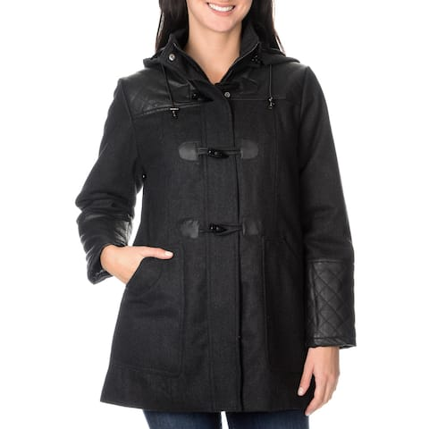 EXcelled Plus Wool Toggle Coat with Faux Leather Inserts and detachable hood