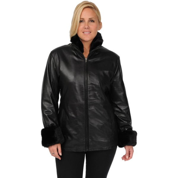 Women's plus size leather coats