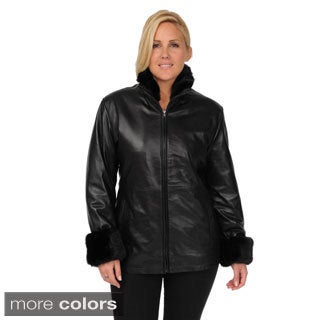 EXcelled Women's Plus Size Lambskin Scuba Jacket