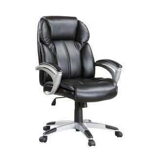 Contemporary Black Vinyl Wheeled Adjustable Office Chair