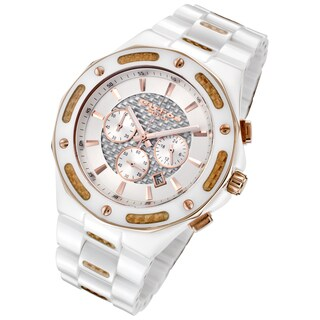 Cirros Milan Men's Rose Goldtone and Carbon Fiber Accented White Ceramic Chronograph Watch