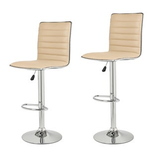 Adeco Beige Channel Tufted Faux Leather, Chrome Adjustable Barstools (Set of 2)