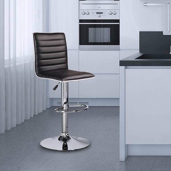 Tremendous Shop Adeco Adjustable Black Faux Leather Chrome Channel Pabps2019 Chair Design Images Pabps2019Com