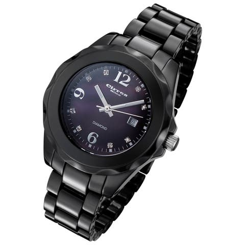 Cirros Milan Women's Black Ceramic Watch with Mother of Pearl Diamond Dial