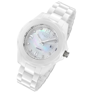 Cirros Milan Women's Pure White Ceramic Diamond Accented Watch
