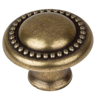 GlideRite 1.25-inch Antique Brass Round Beaded Cabinet Knobs (Pack of 25)