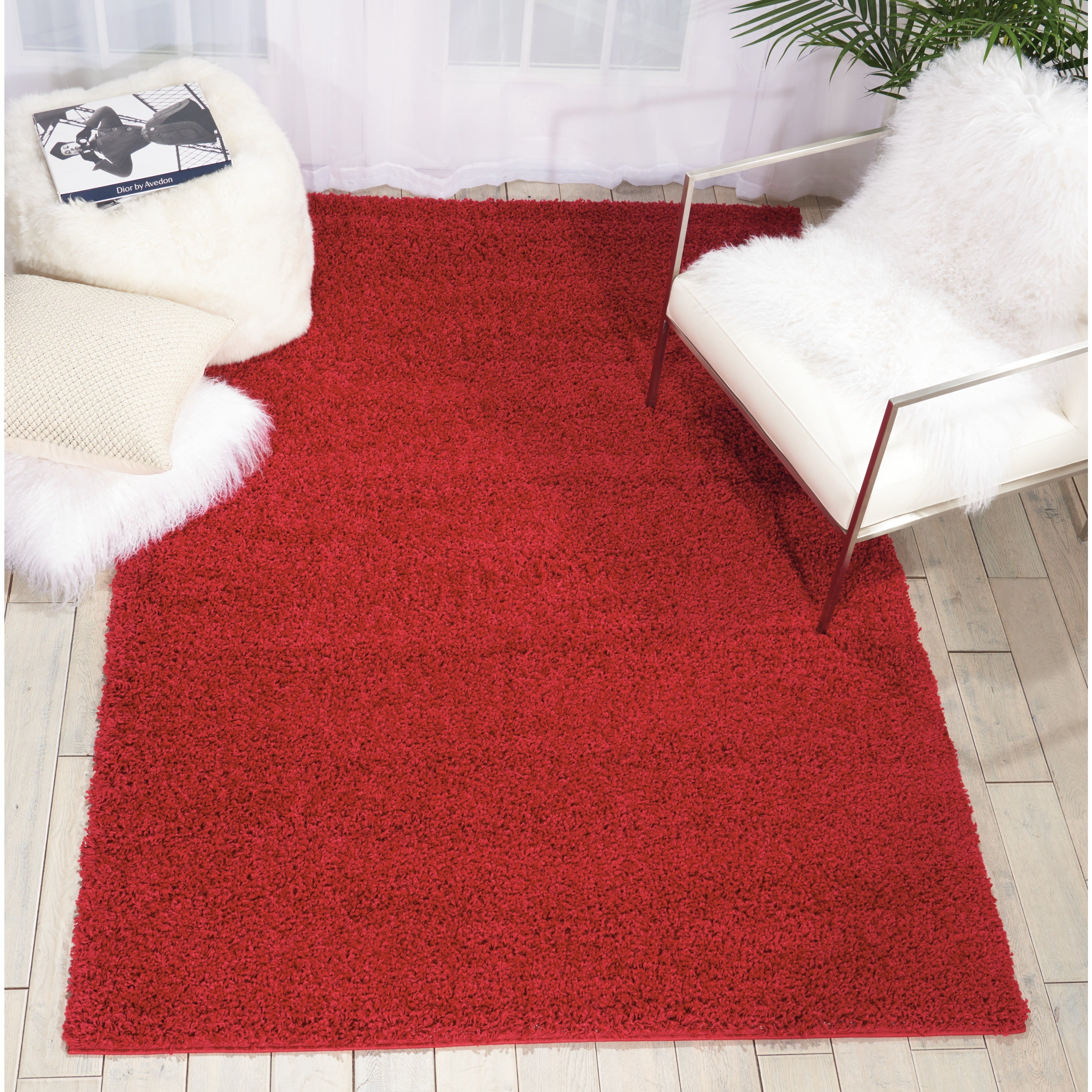 Rug Squared Woodstock Red Shag Rug (5 x 7) - 5 x 7 (Red - 5 x 7)