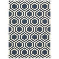 Rug Squared Laredo Blue/ Ivory Rug - 7'6 x 9'6