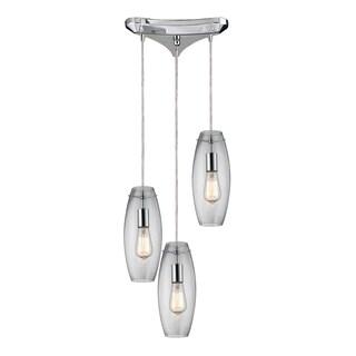 Elk Lighting Menlow Park 3-light Polished Chrome and Clear Glass Pendant