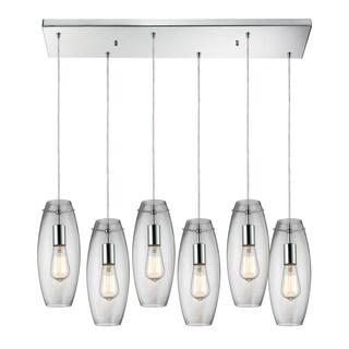 Elk Lighting Menlow Park 6-light Polished Chrome Pendant with Dangling Glass Shades