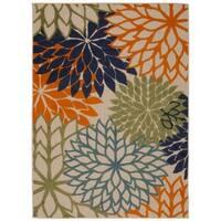 Rug Squared Kona Indoor/Outdoor Multicolor Rug - Beige/Orange - 9'6 x 13'