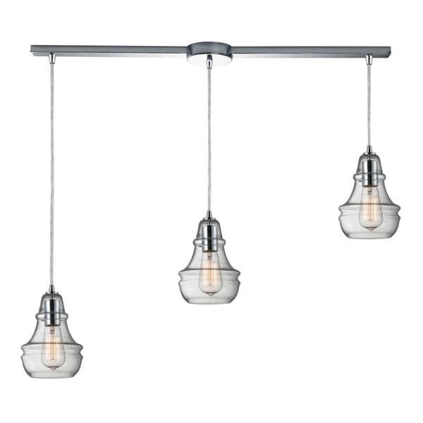 Elk Lighting Menlow Park Polished Chrome Industrial-style 3-light Pendant - Clear