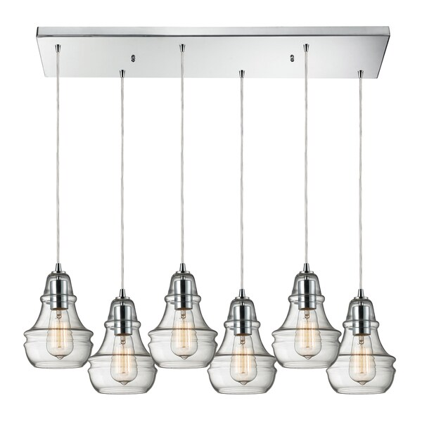 Elk Lighting Menlow Park Polished Chrome Industrial-style 6-light Pendant