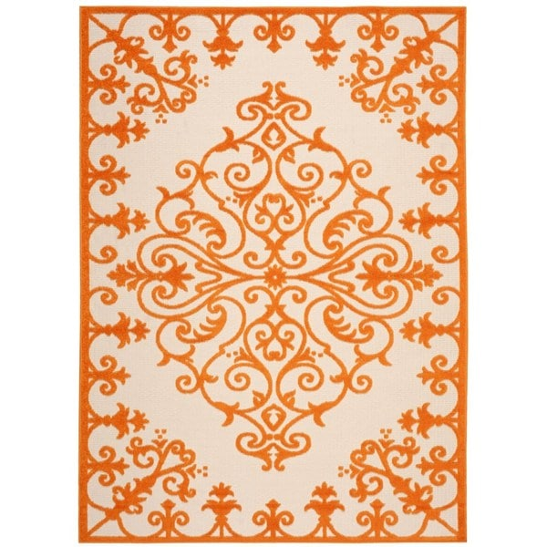Rug Squared Kona Indoor/Outdoor Orange Rug - 7'10 x 10'6