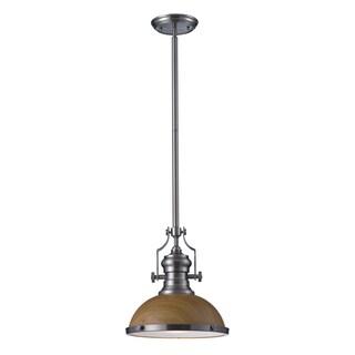 Elk Lighting Chadwick Medium Oak and Satin Nickel Industrial 1-light Pendant