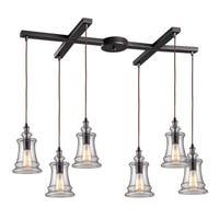 Elk Lighting Menlow Park Oiled Bronze and Glass 6-light Pendant