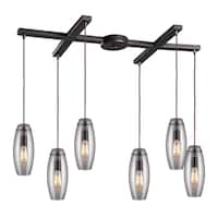 Elk Lighting Menlow Park Brushed Bronze and Glass 6-light Pendant