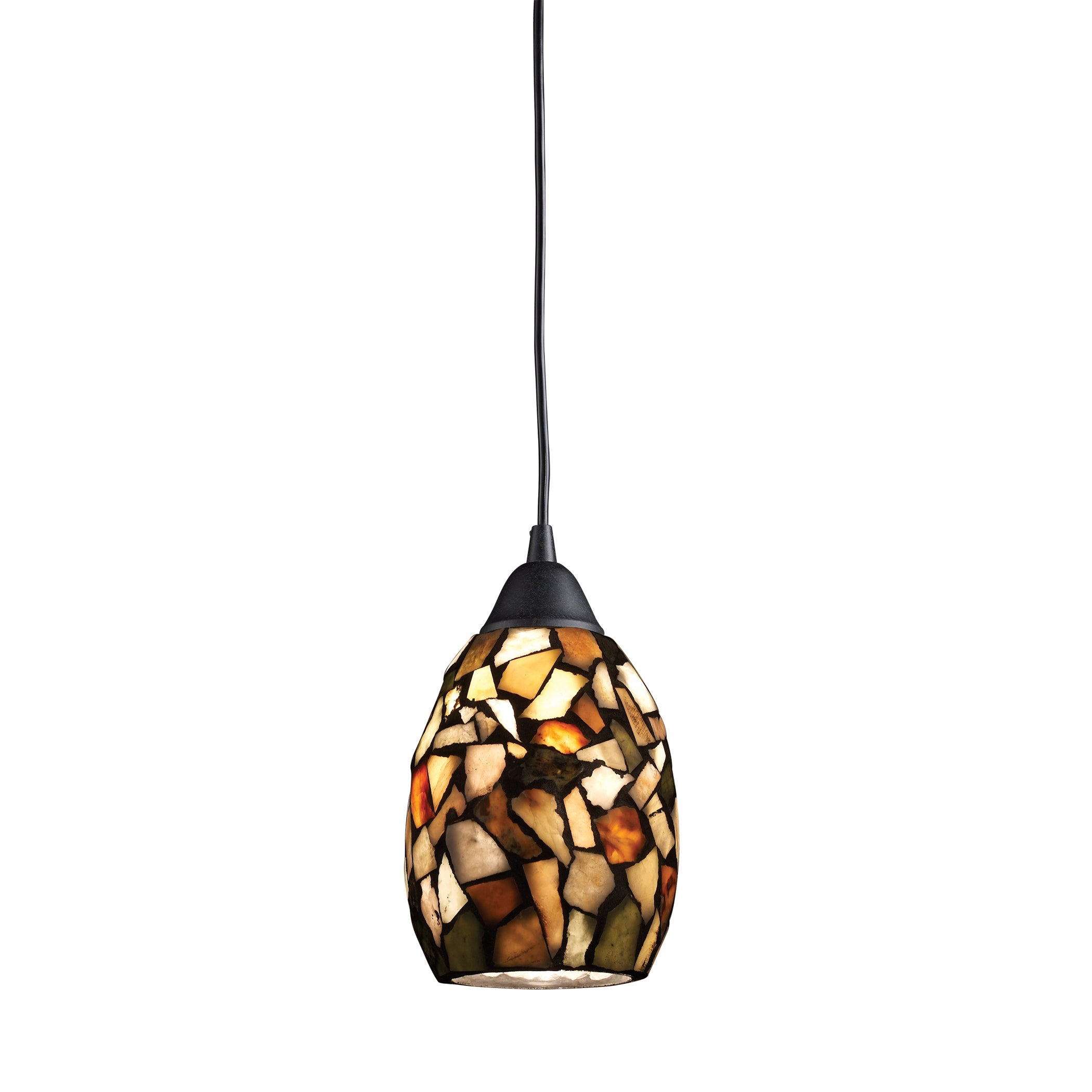 Elk Lighting Trego Dark Rust 1-light Multicolor Glass Pen...