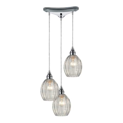 Danica Staggered 3-light Clear Glass and Polished Chrome Pendant