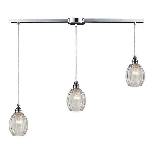 Danica Ascending 3-light Clear Glass and Polished Chrome Pendant