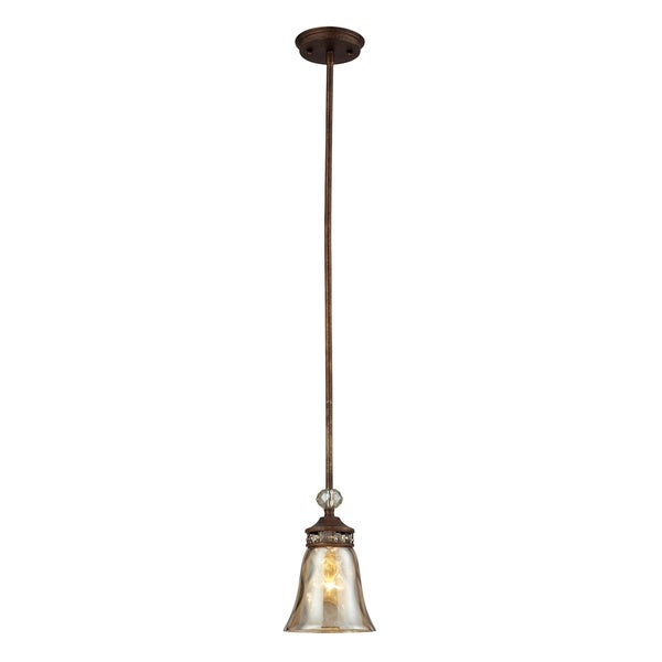 Elk Lighting Cheltham 1 Light Mocha And Champagne Glass Pendant