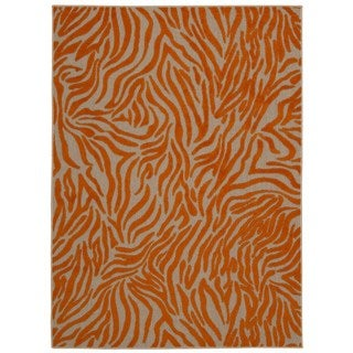 Rug Squared Kona Indoor/Outdoor Orange Rug (5'3 x 7'5)