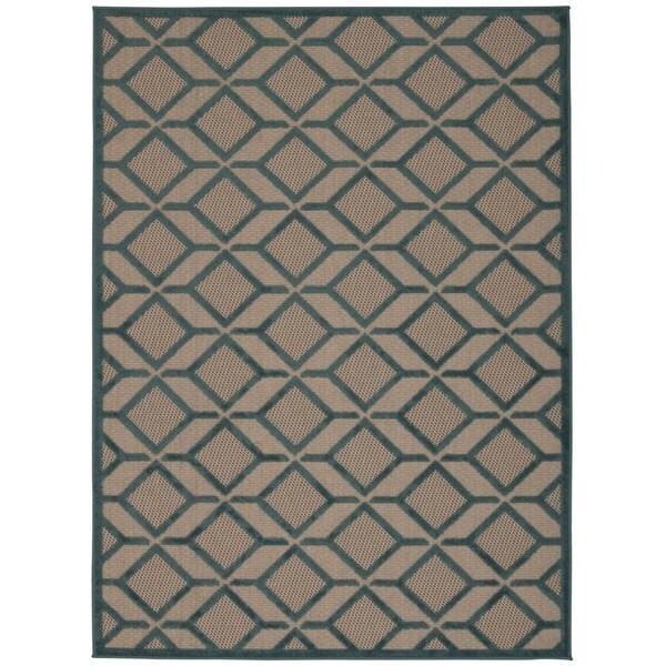 Rug Squared Kona Indoor/Outdoor Blue Rug (9'6 x 13') - 9'6 x 13'