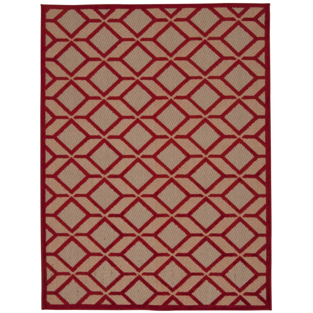 Nourison Rug Squared Kona Indoor/Outdoor Red Rug (3'6 x 5...
