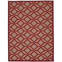 """Rug Squared Kona Indoor/Outdoor Red Rug (7'10 x 10'6) - 7'10"""" x 10'6"""""""
