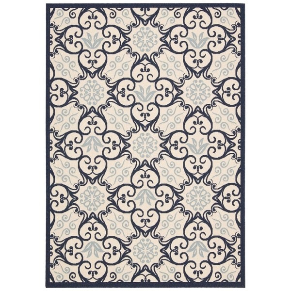 Rug Squared Jupiter Indoor/Outdoor Ivory/ Navy Rug - 9'3 x 12'9