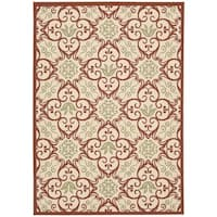 Rug Squared Jupiter Indoor/Outdoor Ivory/ Rust Rug