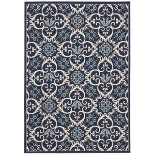 Rug Squared Jupiter Indoor/Outdoor Navy Rug (7'10 x 10'6)