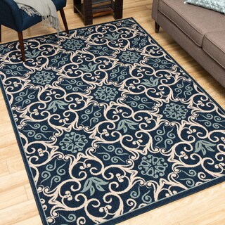 Rug Squared Jupiter Indoor/Outdoor Navy Rug (5'3 x 7'5)