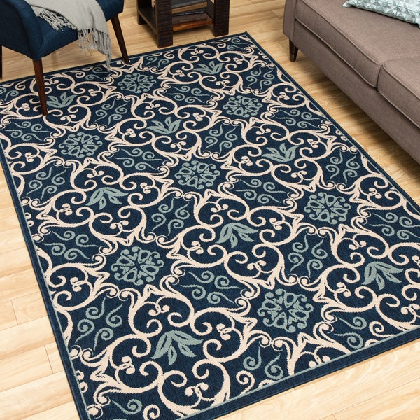 Shop Rug Squared Jupiter Indoor Outdoor Navy Rug 5 3 Quot X