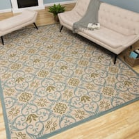 Rug Squared Jupiter Indoor/Outdoor Ivory Blue Rug (7'10 x 10'6)