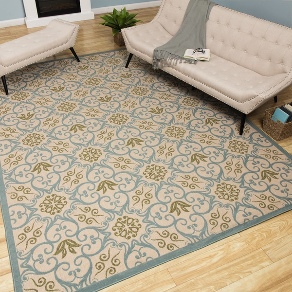 Rug Squared Jupiter Indoor/Outdoor Ivory Blue Rug - 7'10 x 10'6