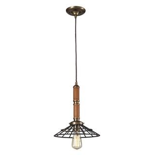 Elk Lighting Spun Wood Single-light Mahogany/ Vintage Rust Pendant - Black