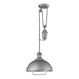 Elk Lighting Farmhouse Single-light Aged Pewter Wide Pendant