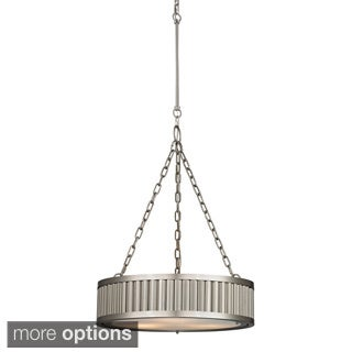 Elk Lighting Linden 3-light Brushed Nickel Drum Pendant
