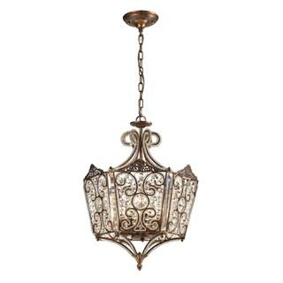 Elk Lighting Villegosa Spanish Bronze and Crystal 8-Light Pendant