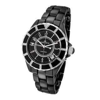 Rougois Women's Black Ceramic Watch with 36 Genuine Diamonds
