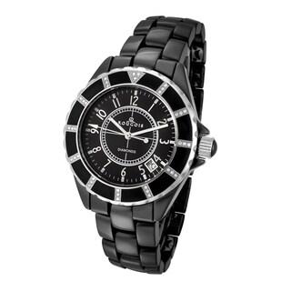Rougois Women's Black Ceramic Watch with 36 Genuine Diamonds